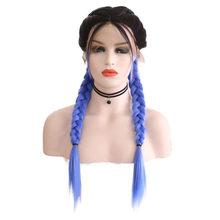 AIMEYA длинные плетеные синтетические кружевные передние парики для черных женщин, черный микро бокс, оплетка, термостойкие волоконные волосы...(Китай)