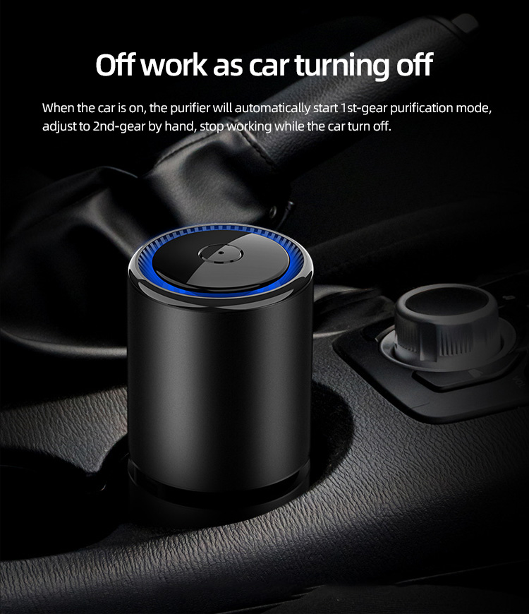 Luxury portable usb charging pm2.5 anion vehicle air freshener smart ionizer car air purifier