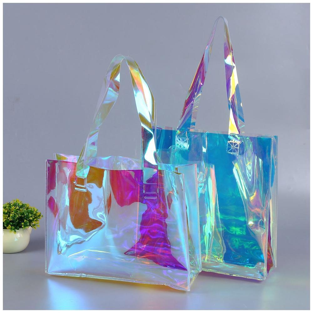 לייזר הולוגרמה שקוף תיק PVC ברור חדש לשאת שקיות אופנה גדול כתף תיק קיץ החוף גדול קיבולת קניות שקיות