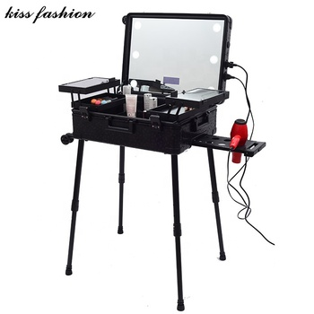 makeup vanity box case online with lights mirror,make up vanity box, aluminum leather cosmetic vanity makeup trolley