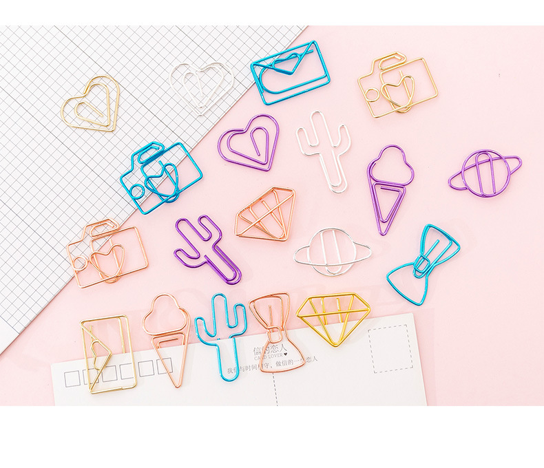 2020 New Cute creative multi hollowed colorful office school metal paper clips bookmarks set stationery 10 pieces/bag