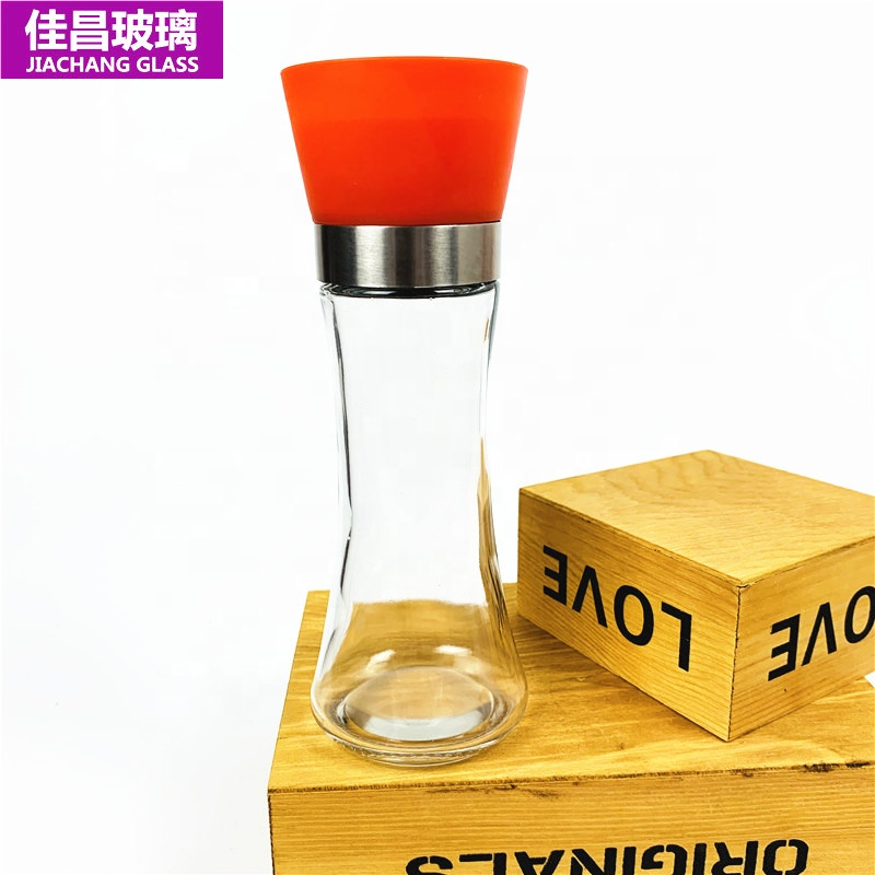 Colorful 185ml Glass Pepper Shaker Salt Mill Spice Grinder Bottle Spice Jar