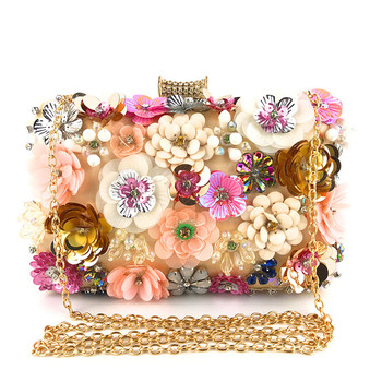 2019 Beaded handmade flower dinner bag ladyites banquet bag makeup bag