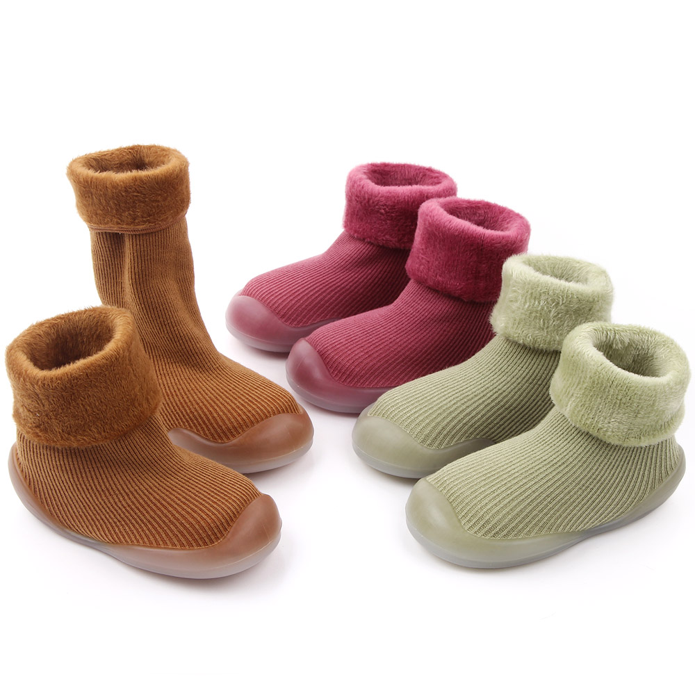 Pure color kids cotton shoes warming children rubber shoes in bulk