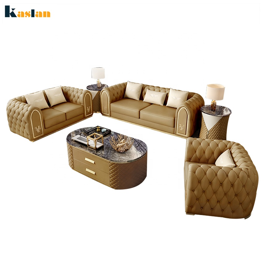 Sofa manufacturer european style luxury apartment living room furniture modern leather chesterfield 3+2+1 sofa set