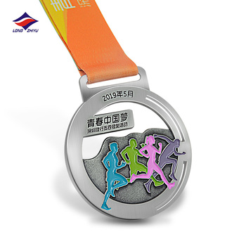 Longzhiyu 13 years professional metal medals factory custom sports medals award antique silver marathon running medals