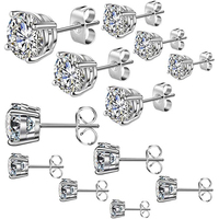 Fashion Zircon AB Crystal Cubic Zirconia Small Bezel Stud Earrings Set