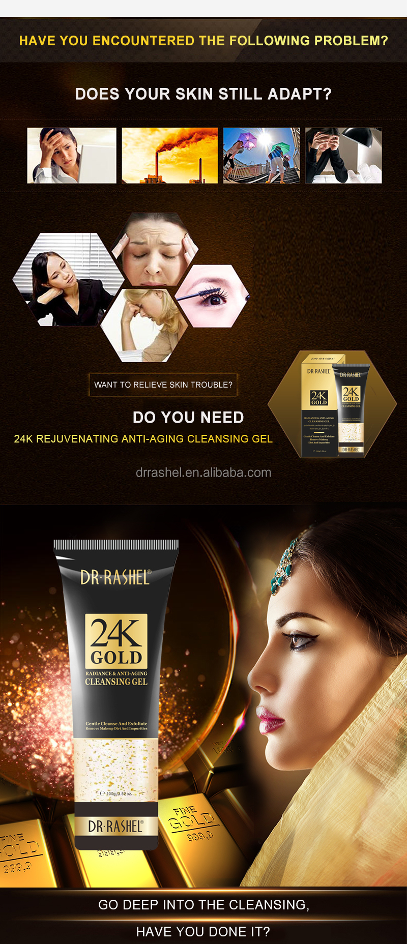 DR. RASHEL 24K GOLD RADINANCE & ANTI-AGING facial Wassen Gel reinigingsgel 100ml