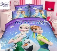 3D style snow princess frozen fever queen printed polyester fabric duvet cover set