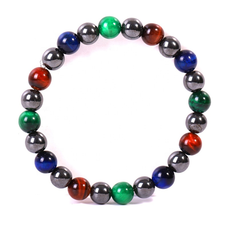Hot Selling Natural <strong>Red</strong> Green Blue <strong>Tiger</strong> <strong>Eye</strong> stone Hematite Fashion Beads <strong>bracelet</strong> men