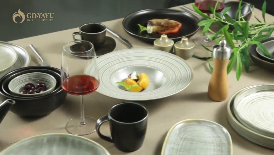 Tiktok Hot Bán Sinh Thái Thân Thiện Yayu Ceramic_cookware_set Với Thiết Kế Vòng Tròn Trung Quốc Ăn Tối Set Kích Thước Đầy Đủ Bộ Đồ Ăn Trung Quốc