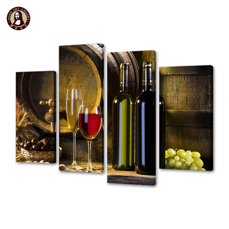 Wholesale 4 Panel Kitchen Decoration Art Wine Bottle Canvas Picture Still Life Painting Giclee Photo Print Wall Art