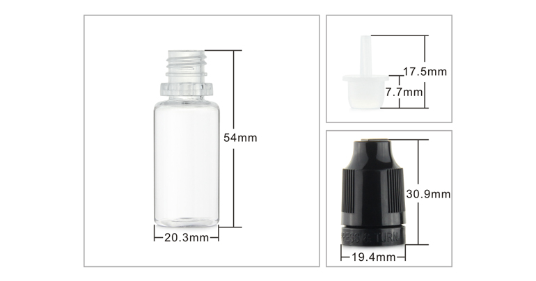 Manufacturer boston round pet10ml  plastic e liquid colorful dropper bottles