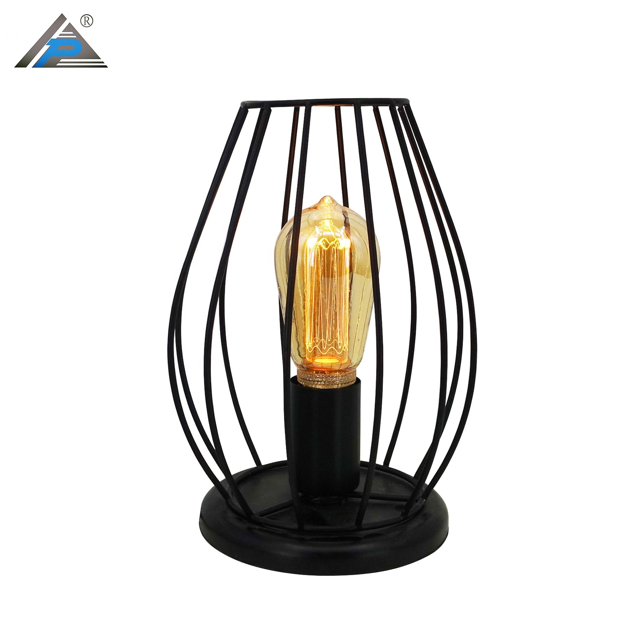 Modern Wood Base Iron Table Lamp with Cage Lampshade Desktop Night Light for Living Room Office Cafe Restaurant