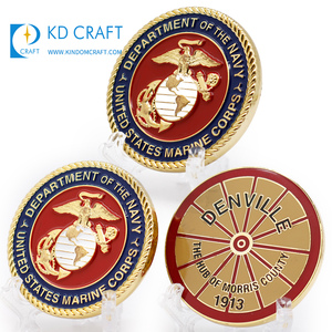 High quality blanks metal custom logo embossed 3D enamel souvenir american military usmc marine corps challenge coins