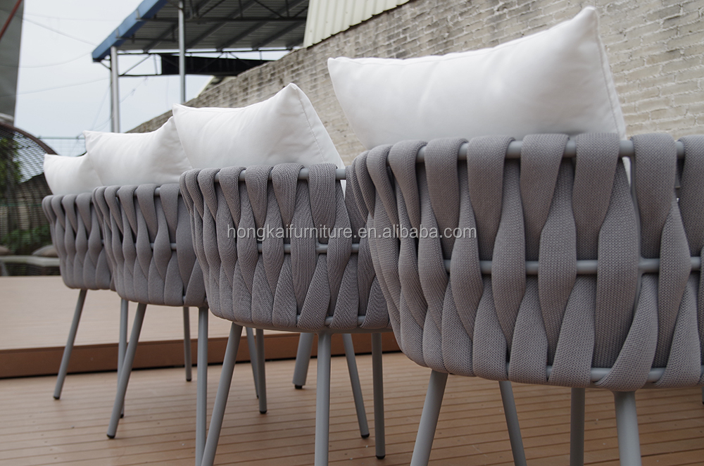 Good quality  patio  leisure waterproof woven rope chair  powder coated aluminum table dining sets outdoor garden furniture