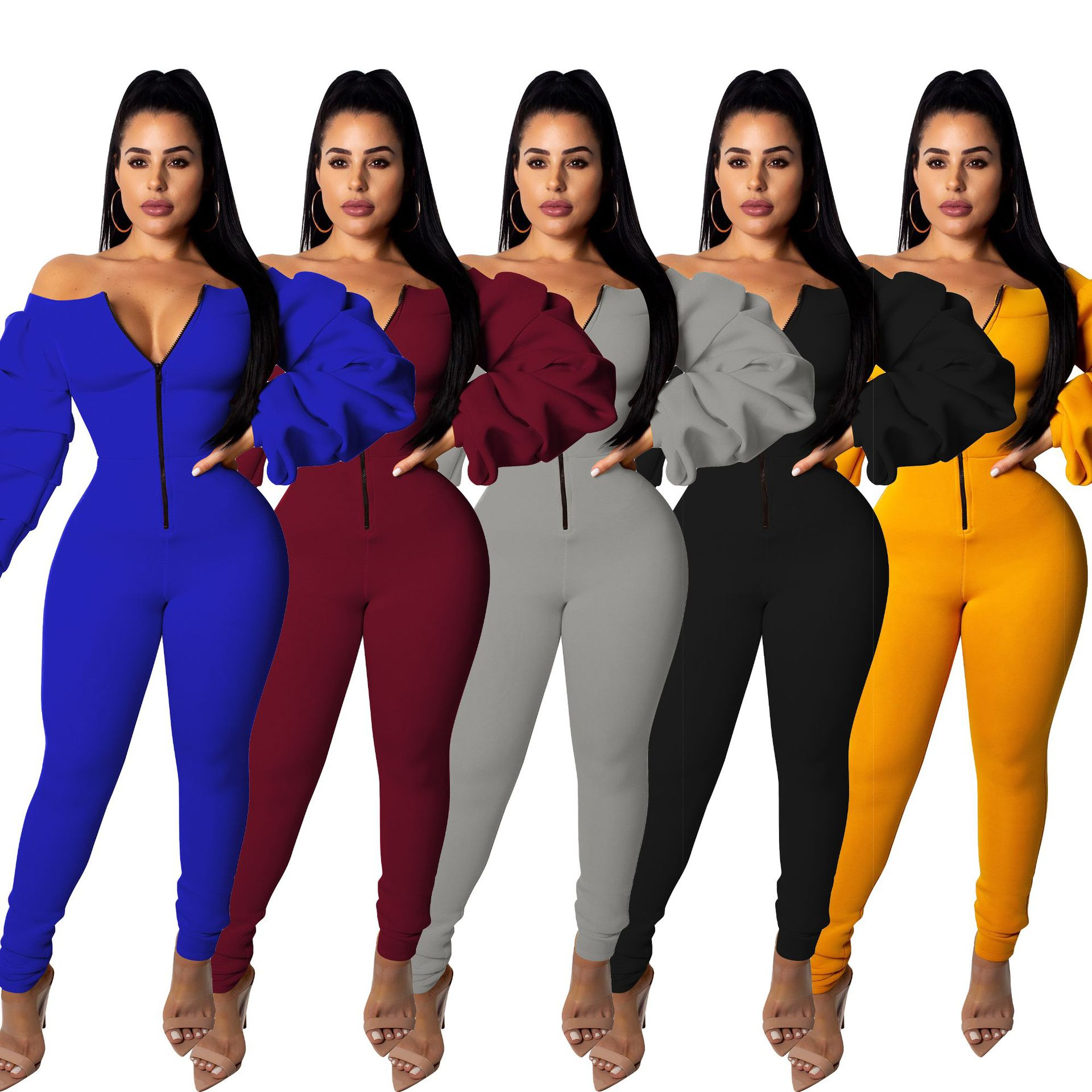 CM277 fashion solid long sleeve off shoulder women jumpsuits