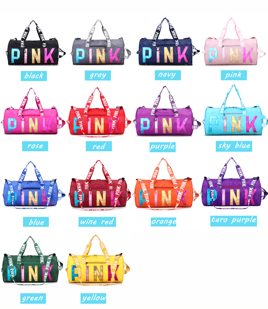 Osgoodway2 Hot Selling Wholesale Gym Bag Waterproof Women Pink Overnight Weekend Gym Travel Duffel Bag