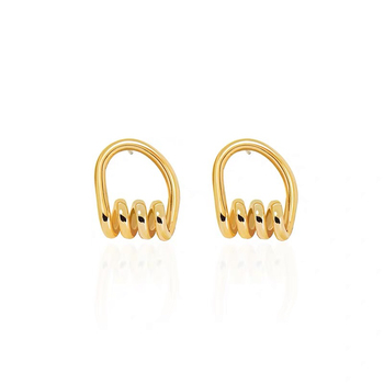 Eico Bohemian Fashion Exaggerated Geometric Earrings Twisted Gold Plated Stud Earring For Women And Men