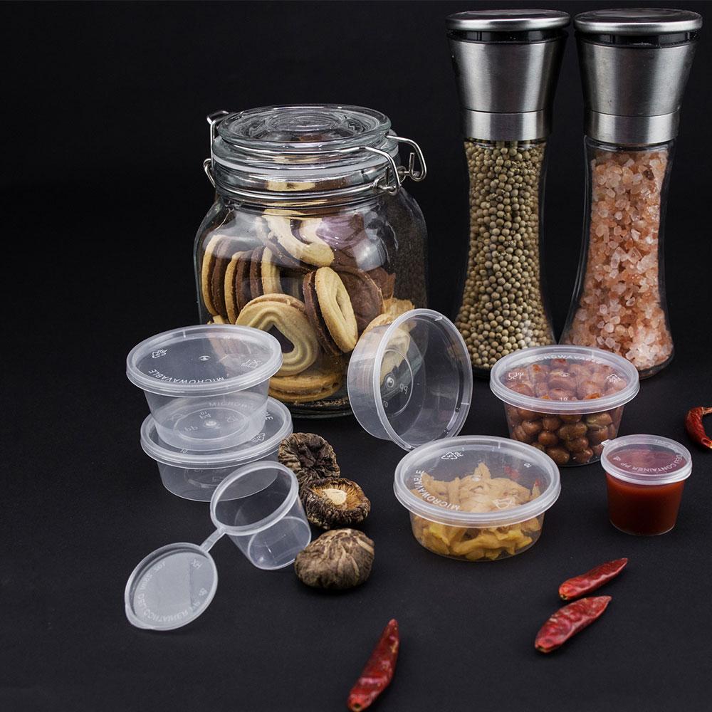Einweg 2 unzen behälter kunststoff tassen mit deckel großhandel für dressing verpackung