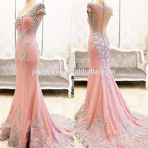 Real Image Pink Evening Dresses 2017 Sexy Illusion Deep V-Neck Crystals Beaded Sheer Back Mermaid Evening Dress Formal Gown 2017