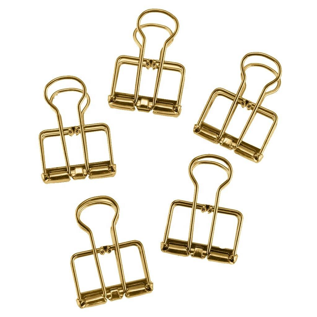 Various color gold rose gold wire binder clip creative design metal binder clip