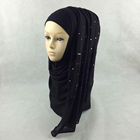 Fashion design soft cotton feel stone lace black scarf women for hijab