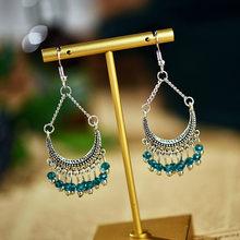 Новое поступление 2020, простые женские вечерние серьги в богемном стиле с маленькими серебряными бусинами и кисточками(Китай)