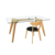 Living Room Oak Furniture Rectangle Wood Legs Tempered Transparent   Glass Dining Table Modern Design