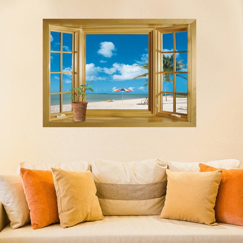 3d Beach Sea Window Wall Mural Removable & Reusable