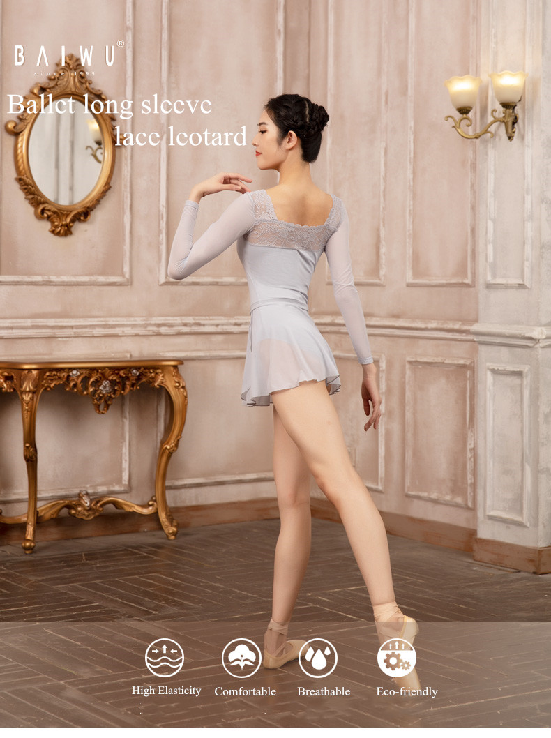 119142307 Baiwu Ballet Dance Training Wear  Lace Long Sleeve Leotard Girl