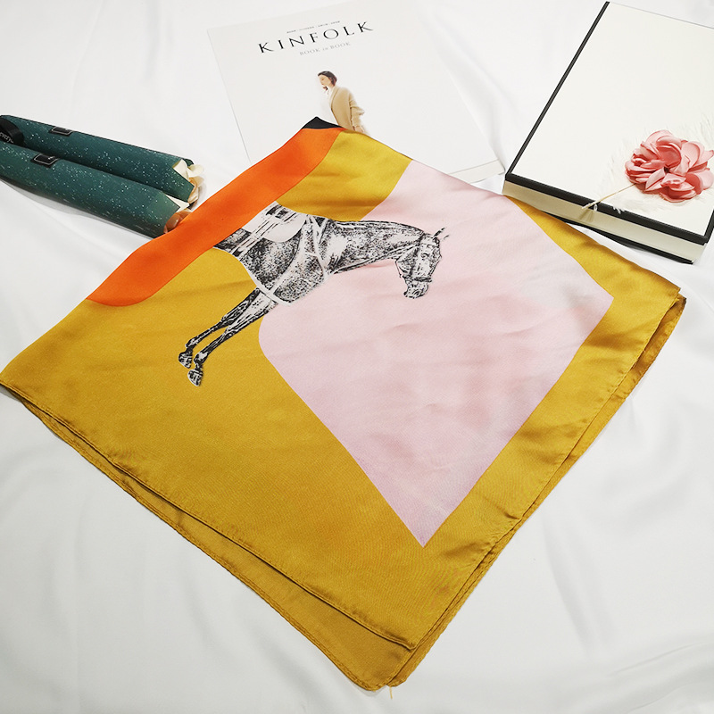Cross-border  European and American new silk scarf female small scarf geometry horse H small scarf neck decoration
