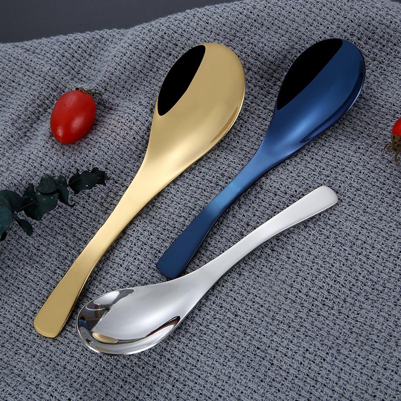 Сервировочная Золотая большая ложка для супа, ложки из нержавеющей стали для ресторана