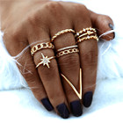 Bohemian Vintage Royal Rings Geometric Gold Zircon Cubic Rings Set for Women Girls