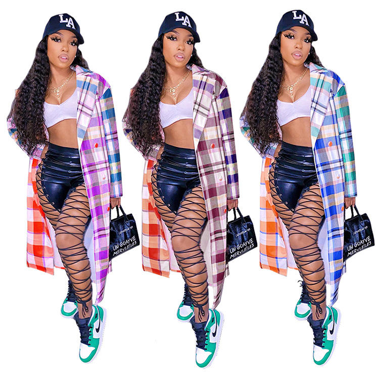 GLS8031 new stylish simple plaid casual long double-breasted coat Clothing Women Winter Clothes