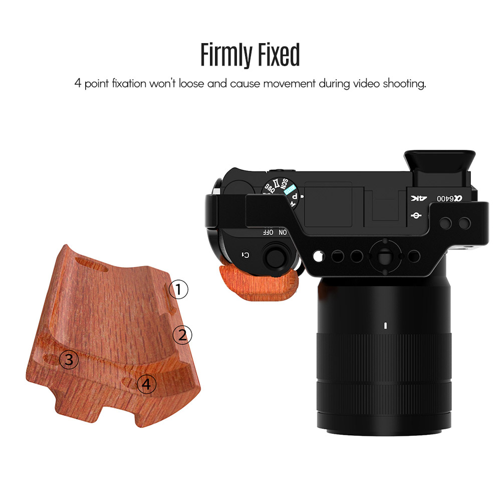 UURIG R009 Wooden Handgrip Rig for Sony A6400 A6300 Cage Mount Handle A6400 Camera Cage Grip