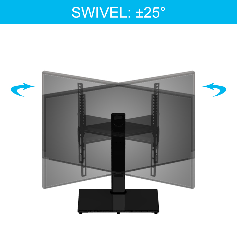 "VESA 400*400 Swivel Modern/Cheap/ Glass TV Stands with Heavy Duty Base for 32""-55"" LCD LED TV"