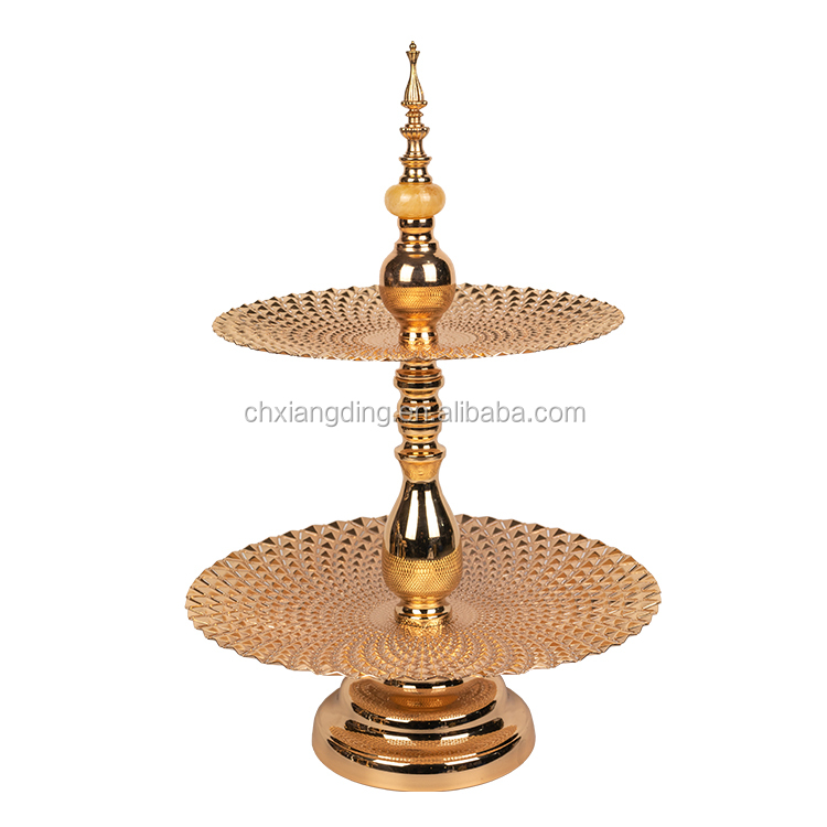 luxury Wedding decor fruit  dish dessert plate gold tray  2 or 3 tier cake stand with marble