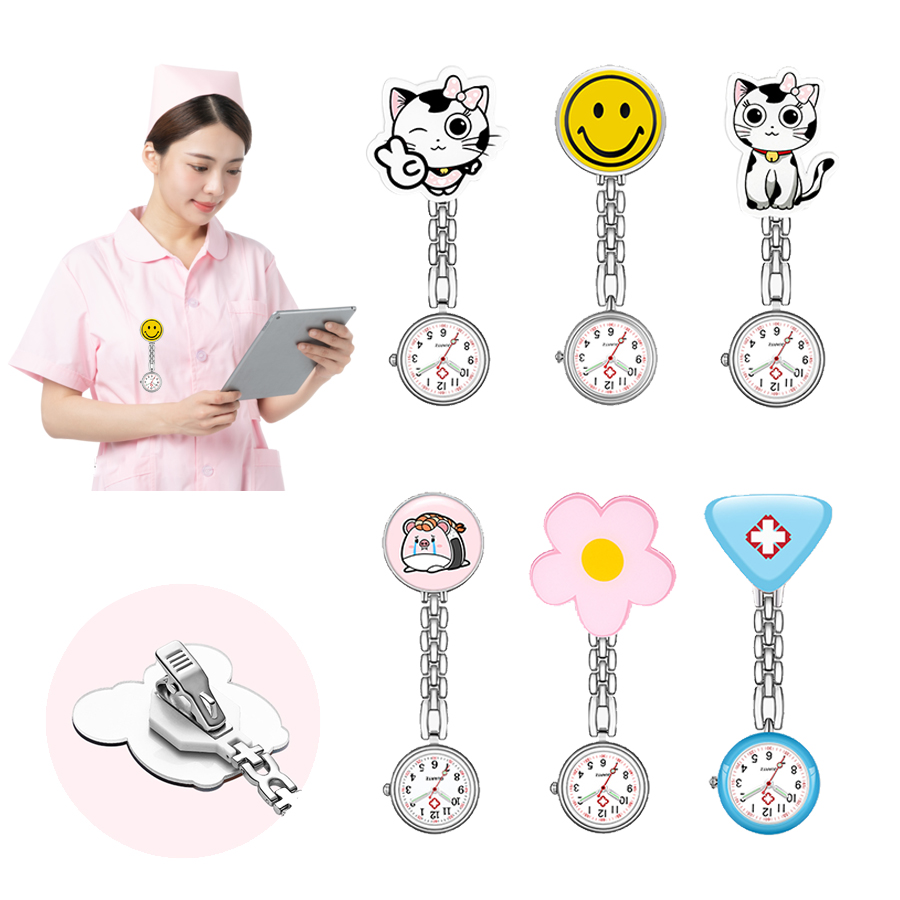 Customized Logo Rubber Doctor Pocket Watch Clip Brooch FOB Nurse watch Silicone