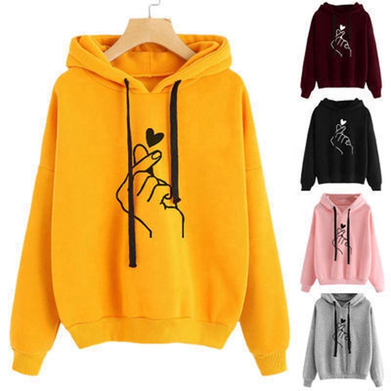 Plus tamaño 4XL las mujeres Sudadera con capucha Mujer con capucha amor impreso Casual suéteres de manga larga de las niñas primavera Otoño Invierno