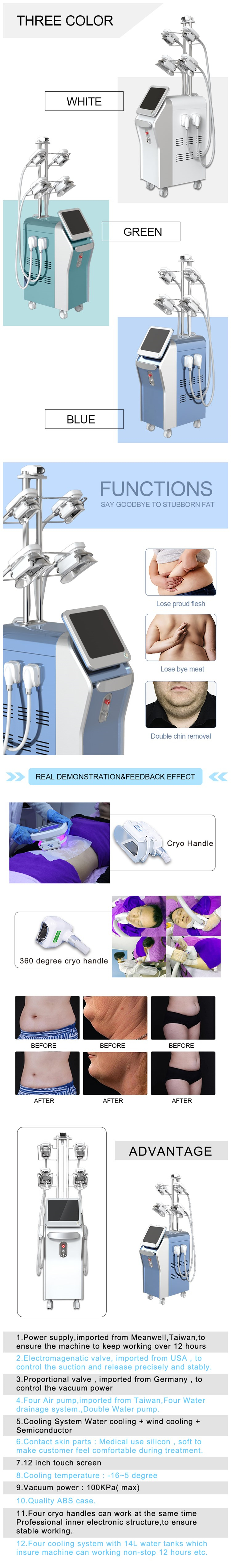 New beauty equipment 4 hands work at the same time fat freezing maquina criolipolisis
