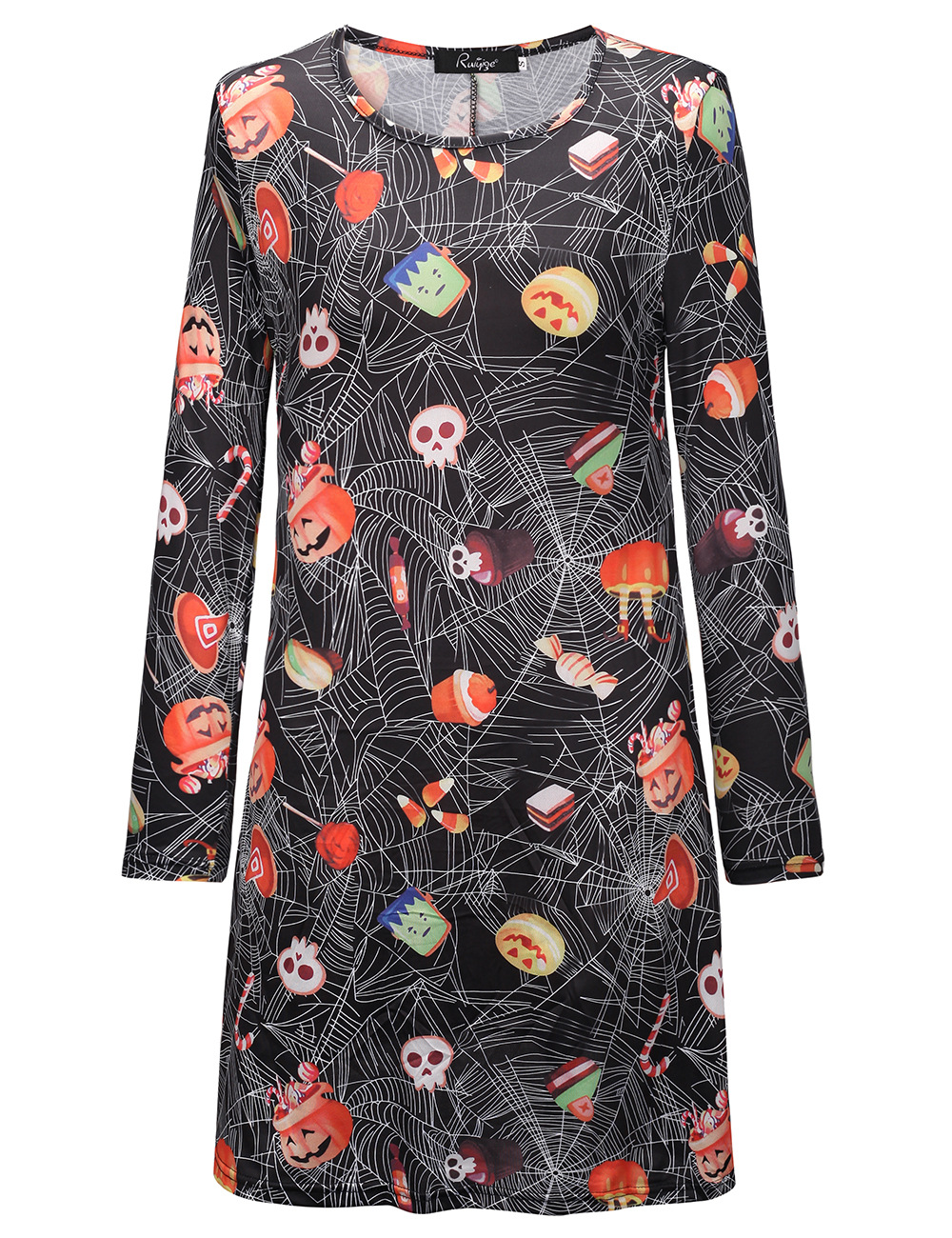 Women Vintage Christmas Dress Ladies Printed Winter Casual Midi Dress O Neck Christmas Party Dresses