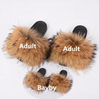 Fashion New Women Real Raccoon fur slides Baby toddler Fur Slides indoor outdoor large animal fur Slippers