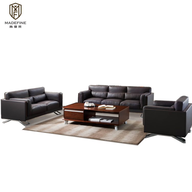 MADEFINE SF-173 New design Luxury Furniture brown genuine 1+2+3 sofa 1+2+3 set soft office sofa