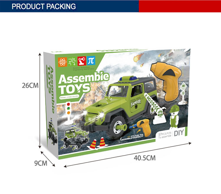 57PCS slide military plastic diy block car toy with light music
