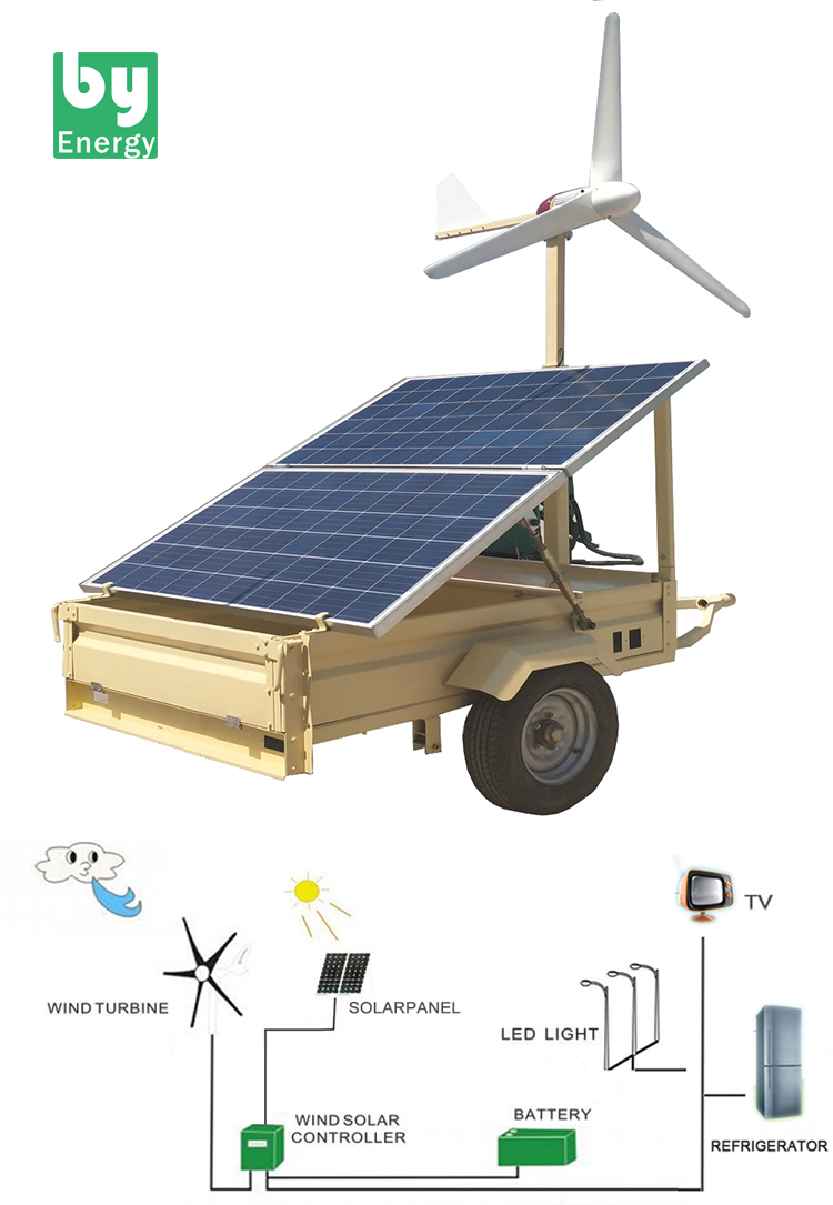 500W wind turbine 500W PV solar Panels portable mobile  transport trailer Hybrid Wind Solar Power System for home