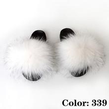 Шлепанцы с натуральным мехом, женские летние пушистые шлепанцы, женские меховые сандалии, большие размеры, 2020(Китай)