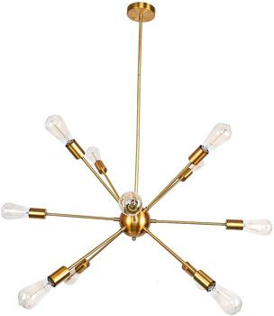 10 Lights Antique Vintage Black Restaurant Hotel Brass Wrought Iron Sputnik Chandelier Pendant Light