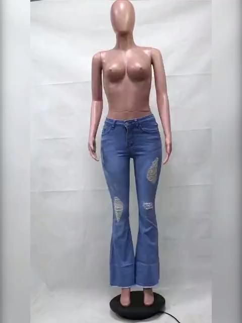 Yeni tasarım bayanlar yüksek bel pantolon çan alt kot geniş bacak kadın yırtık kot kot pantolon üst satış