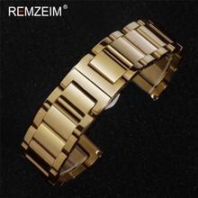 REMZEIM твердый ремешок для часов из нержавеющей стали 16 мм 18 мм 20 мм 22 мм 24 мм металлический ремешок для часов с автоматической пряжкой-бабочко...(Китай)